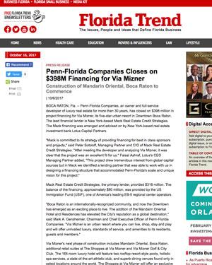 Penn-Florida Companies Closes on $398M Financing for Via Mizner