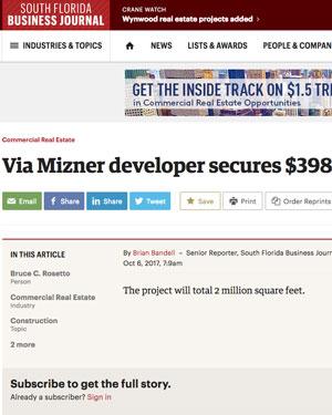 Via Mizner developer secures $398M loan